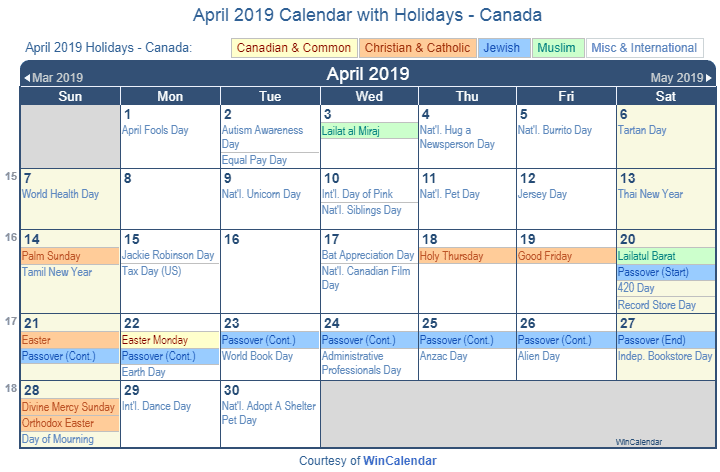 April 2019 Calendar With Holidays Canada