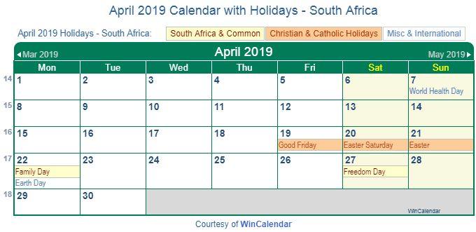 April 2019 Calendar With Holidays South Africa