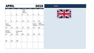 April 2019 Calendar With Holidays UK