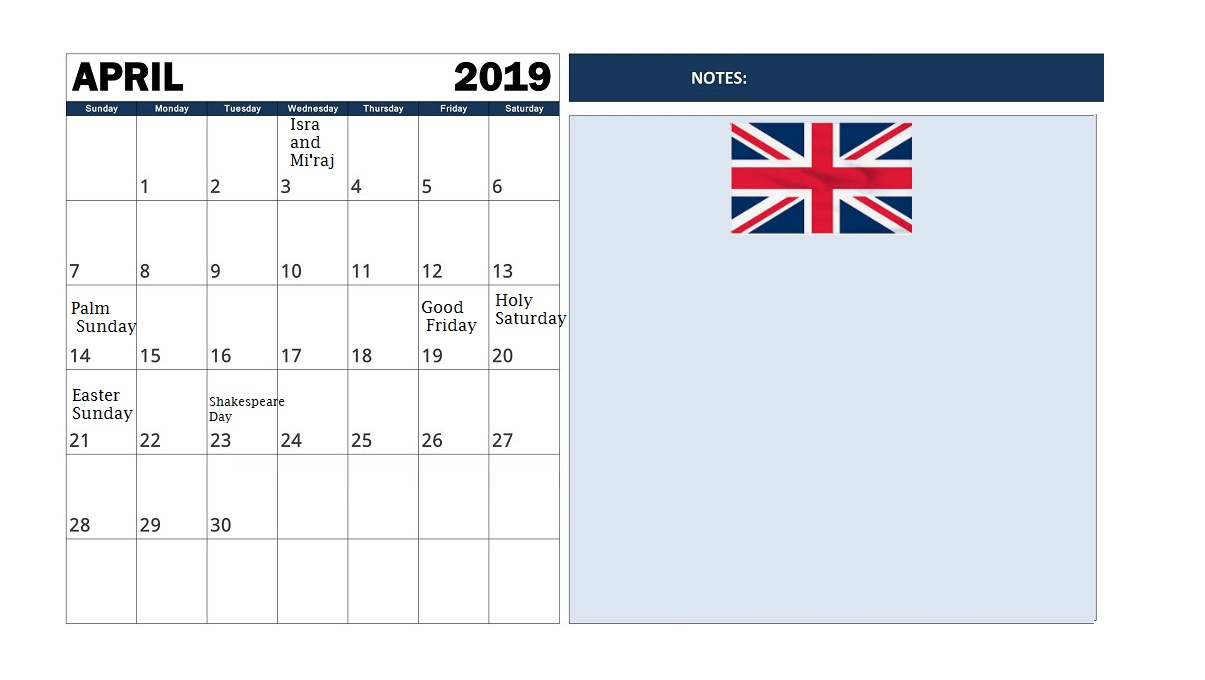 Free Printable 2019 Calendar With Uk Holidays.April 2019 Calendar With Holidays Uk Free Printable Calendar