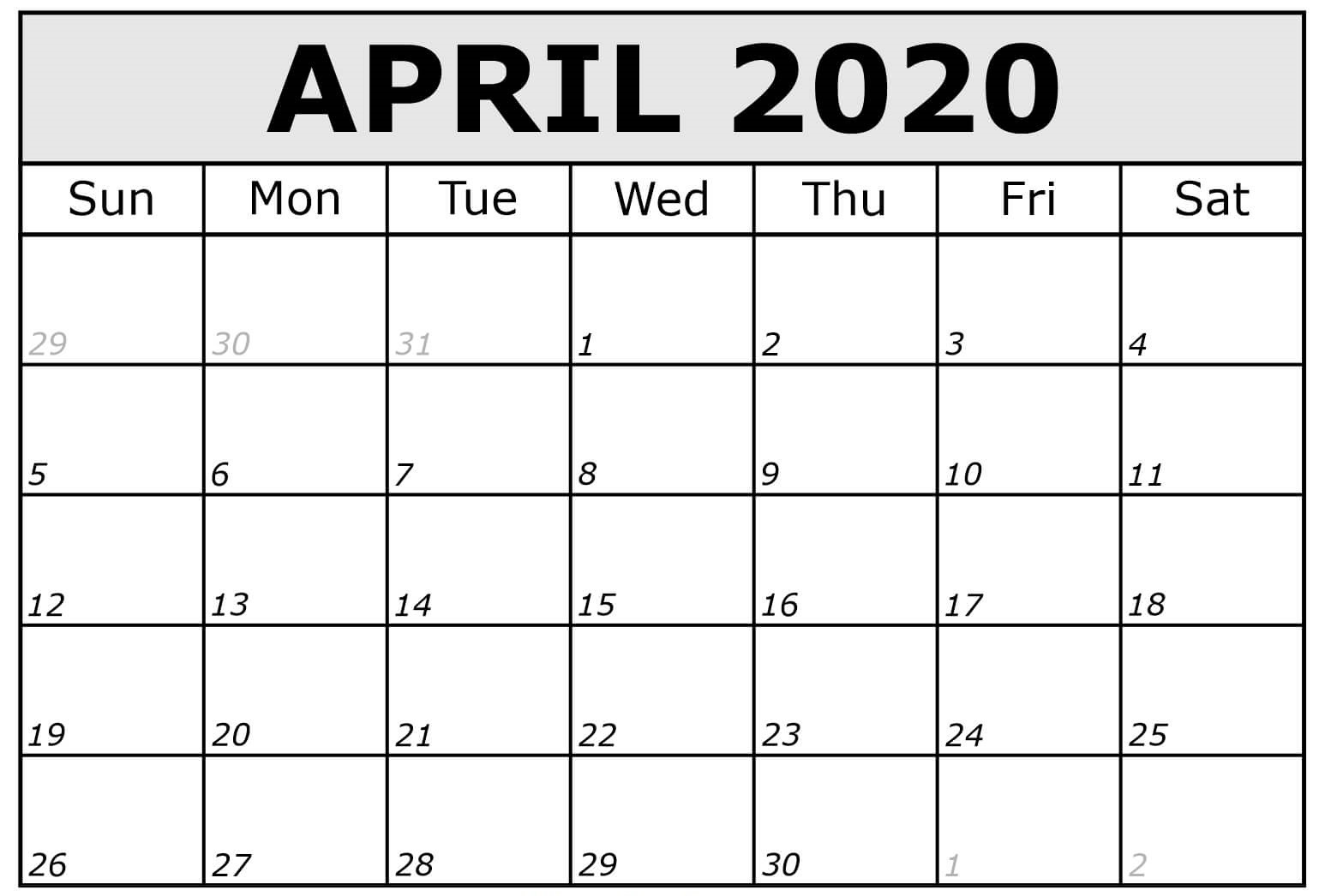 April 2020 Calendar Canada With Holidays