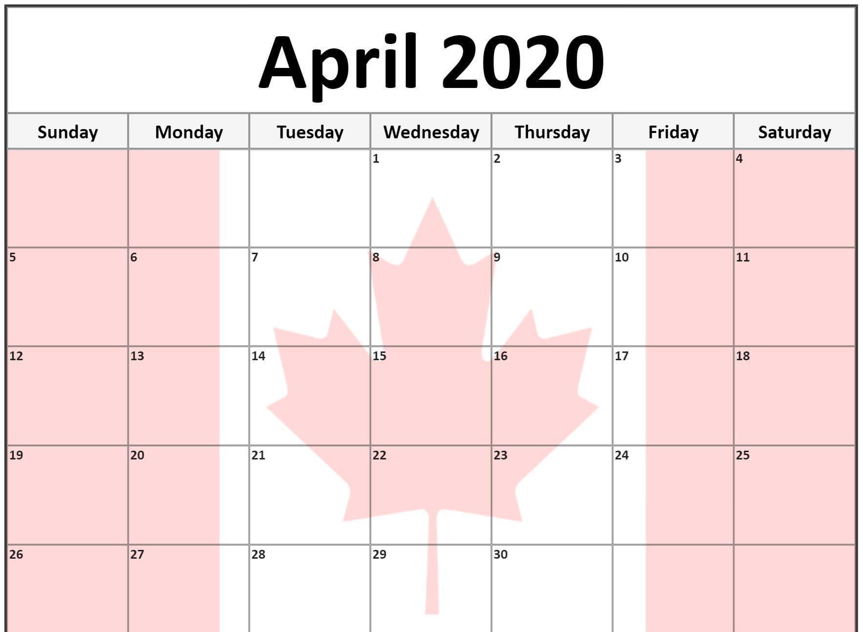 April 2020 Calendar Canada