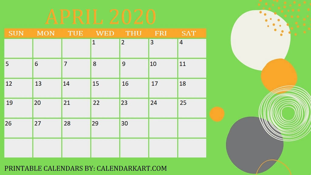 April 2020 Calendar Decorative Template