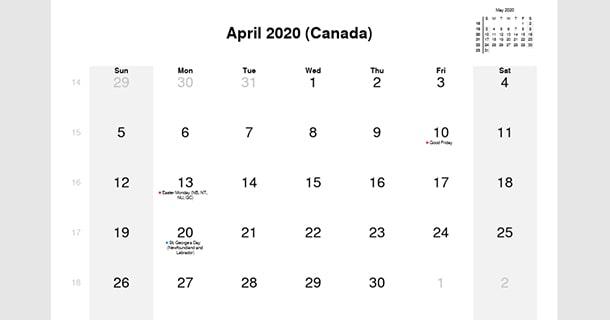 April 2020 Calendar with Canada Holidays