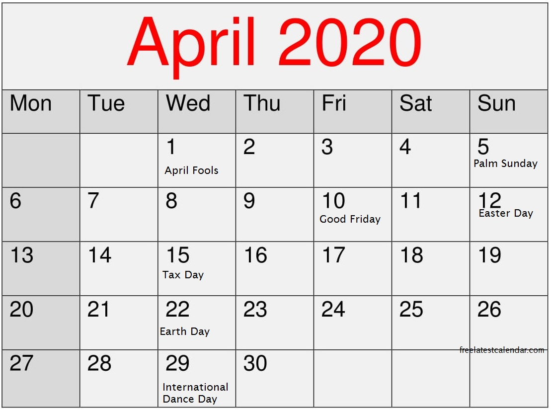 April 2020 Calendar with National Holidays