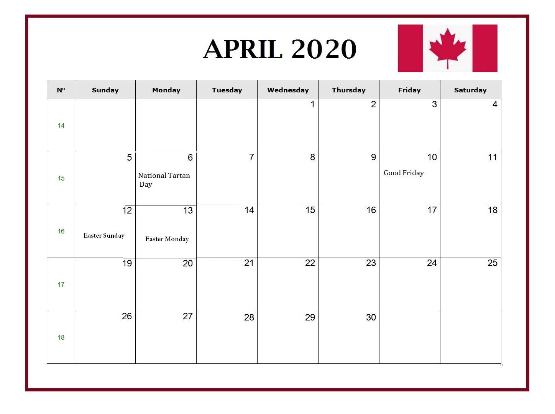April 2020 Canada Holidays Calendar