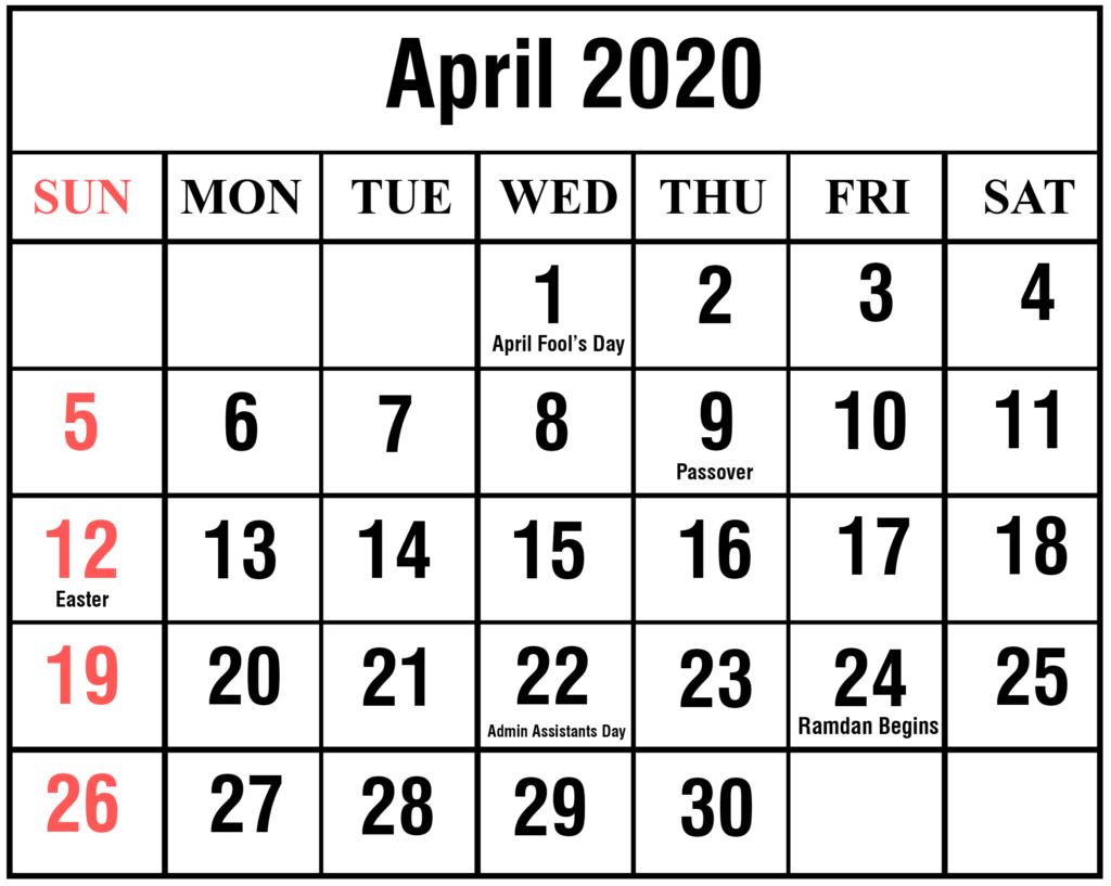 April 2020 Federal Holidays Calendar