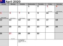 April 2020 Holidays Calendar Template