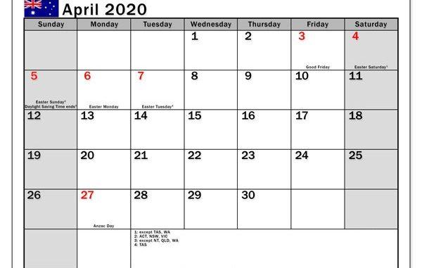 April 2020 Holidays Calendar Template