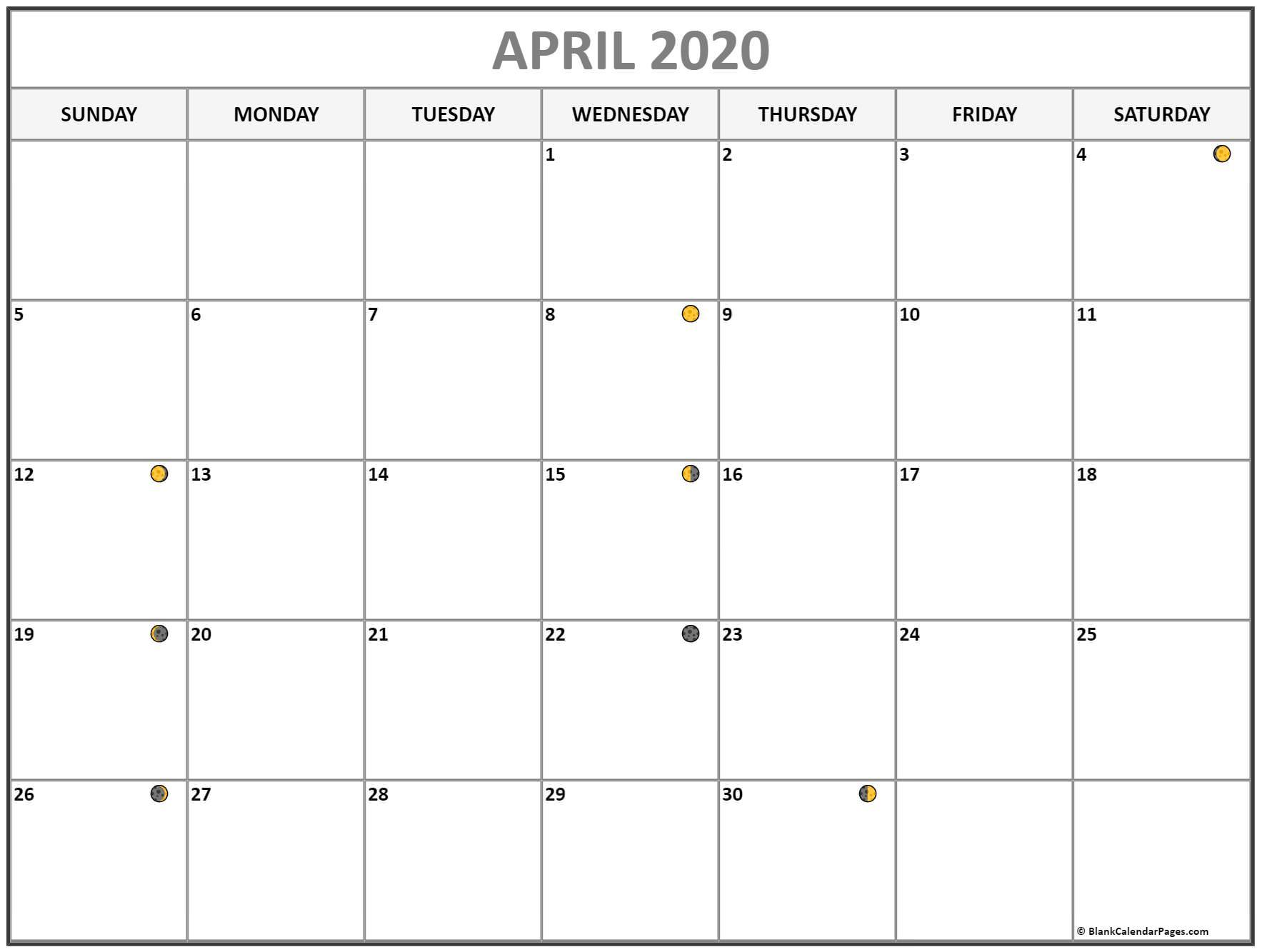 April 2020 Moon Phases Calendar