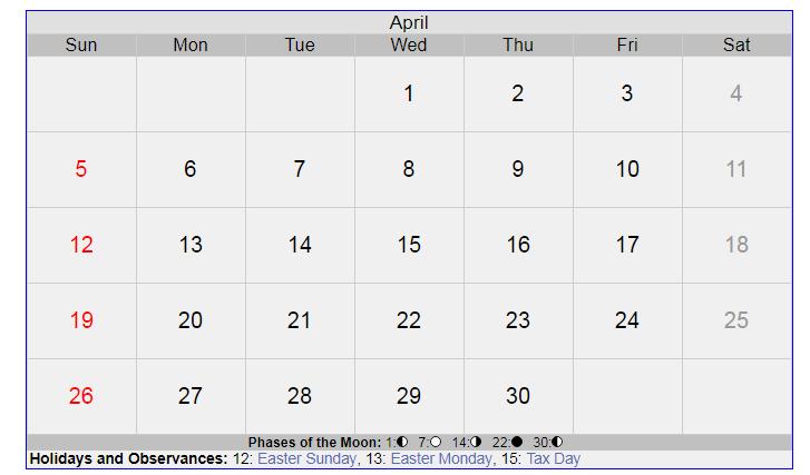 April 2020 New Moon Calendar