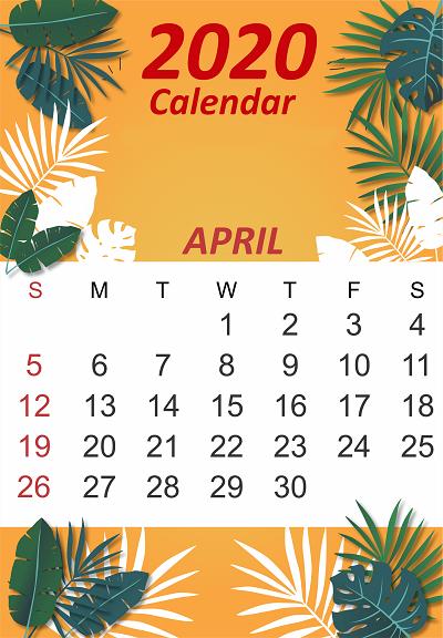 April 2020 iPhone Calendar Floral Wallpaper