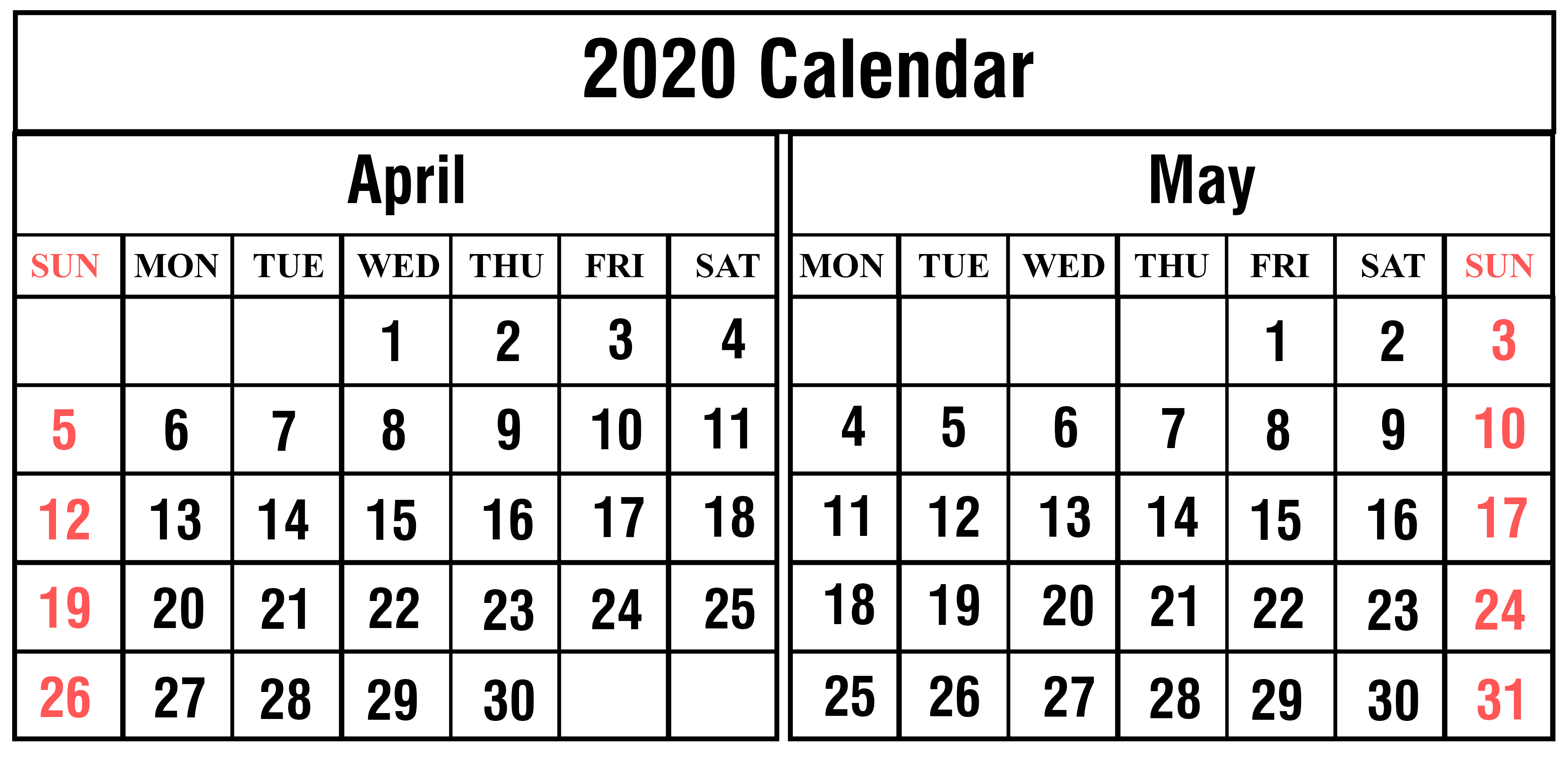 April May 2020 Editable Calendar
