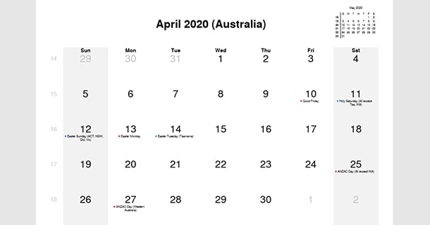 Australia Holidays Calendar April 2020