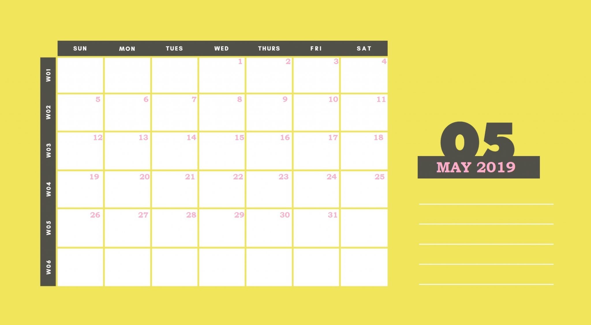 Beautiful May 2019 Printable Calendar Template