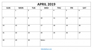 Blank Calendar April 2019 Pdf