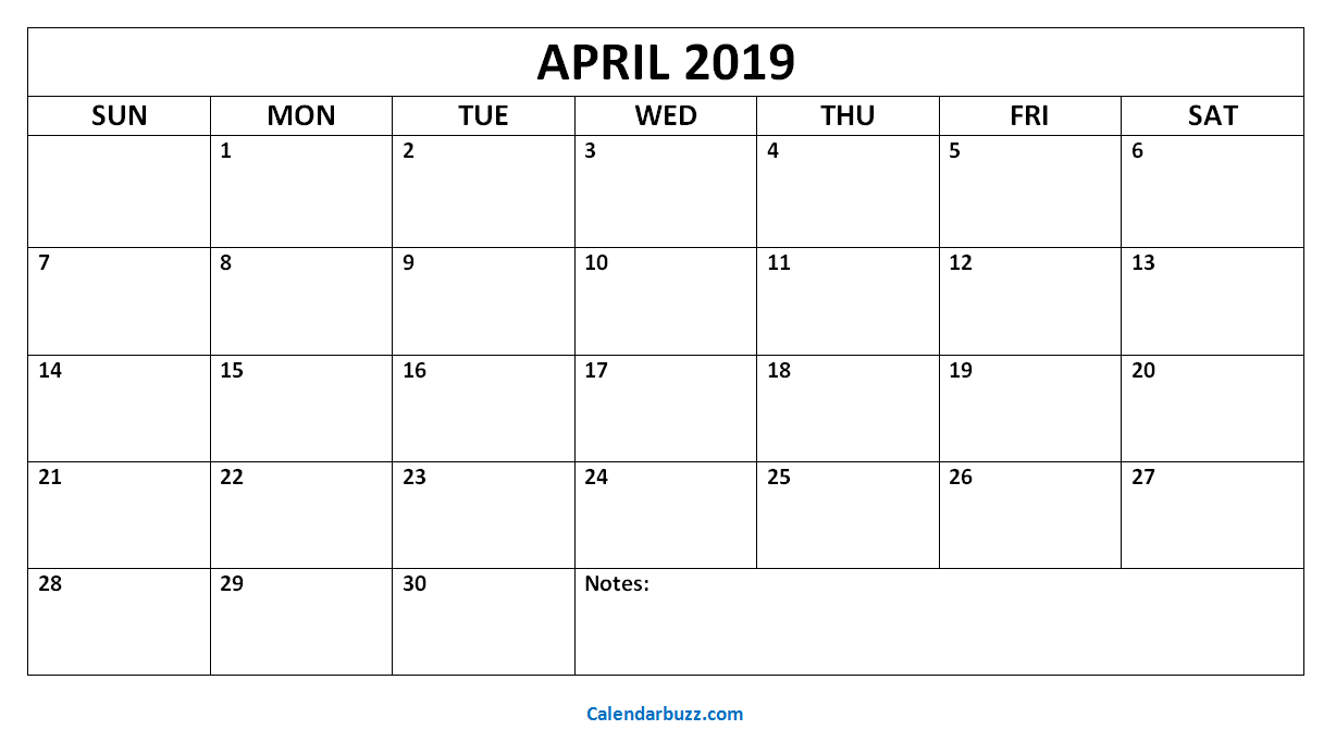 Blank Calendar April 2019 Pdf Free Printable Calendar Templates