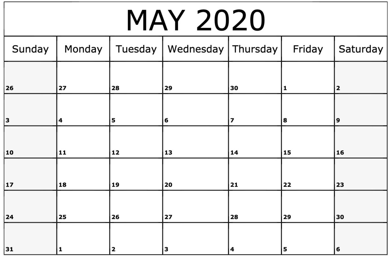 Blank Calendar May 2020 Printable