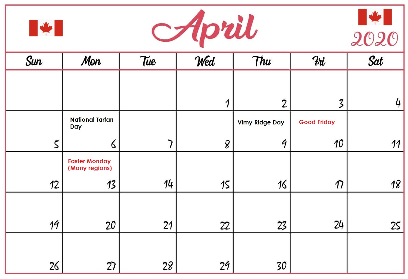 Canada April 2020 Blank Calendar