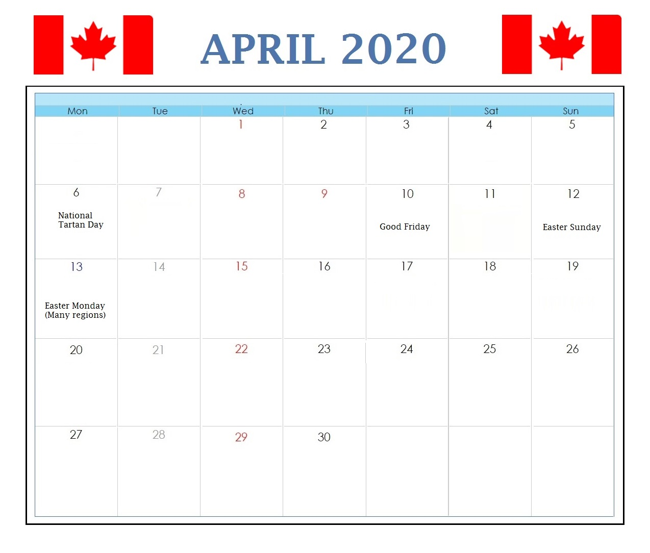 Canada April 2020 Calendar Holidays