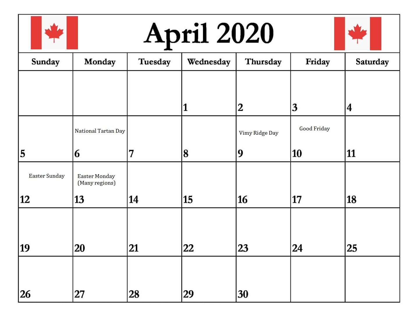 Canada April 2020 Holidays Canada