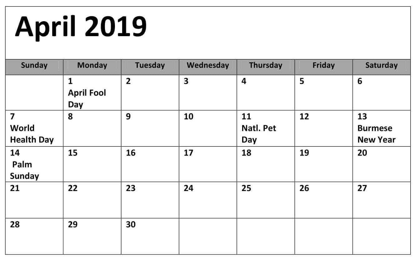 Canada Holidays Calendar April 2019