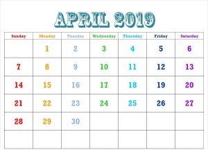 Cute April 2019 Calendar Blank Templates