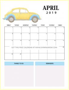 Cute April 2019 Calendar With To Do List