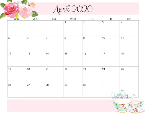 Cute April 2020 Calendar Floral Design