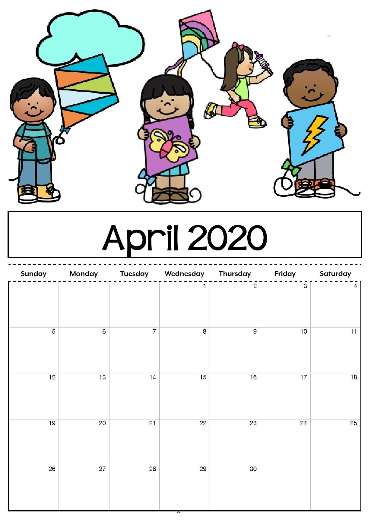 Cute April 2020 Calendar For Kids
