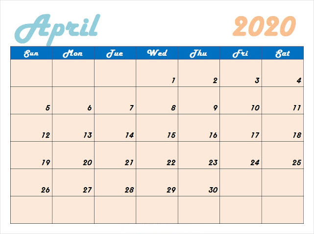 Cute April 2020 Calendar Template