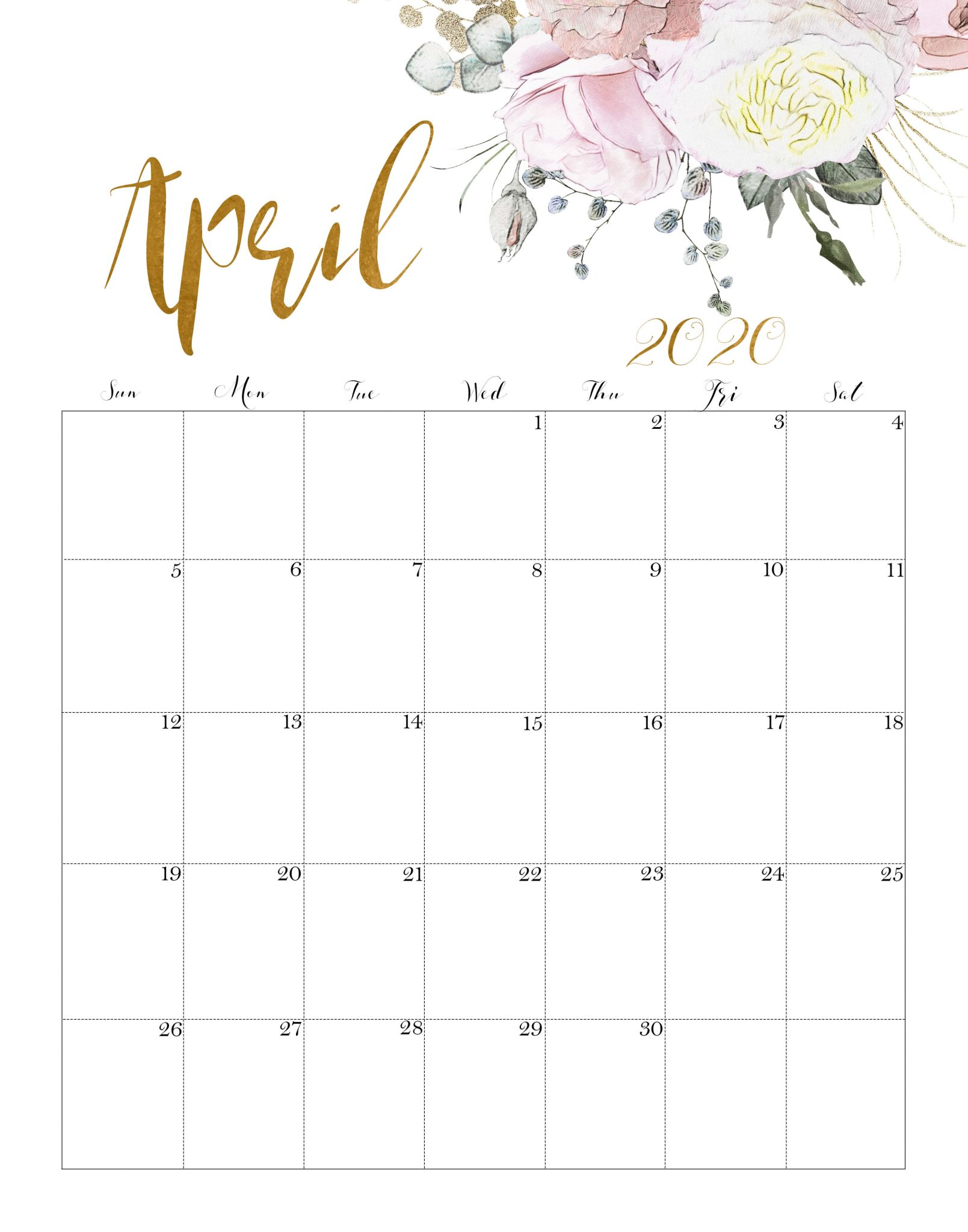 Calendar April 2020 Cute
