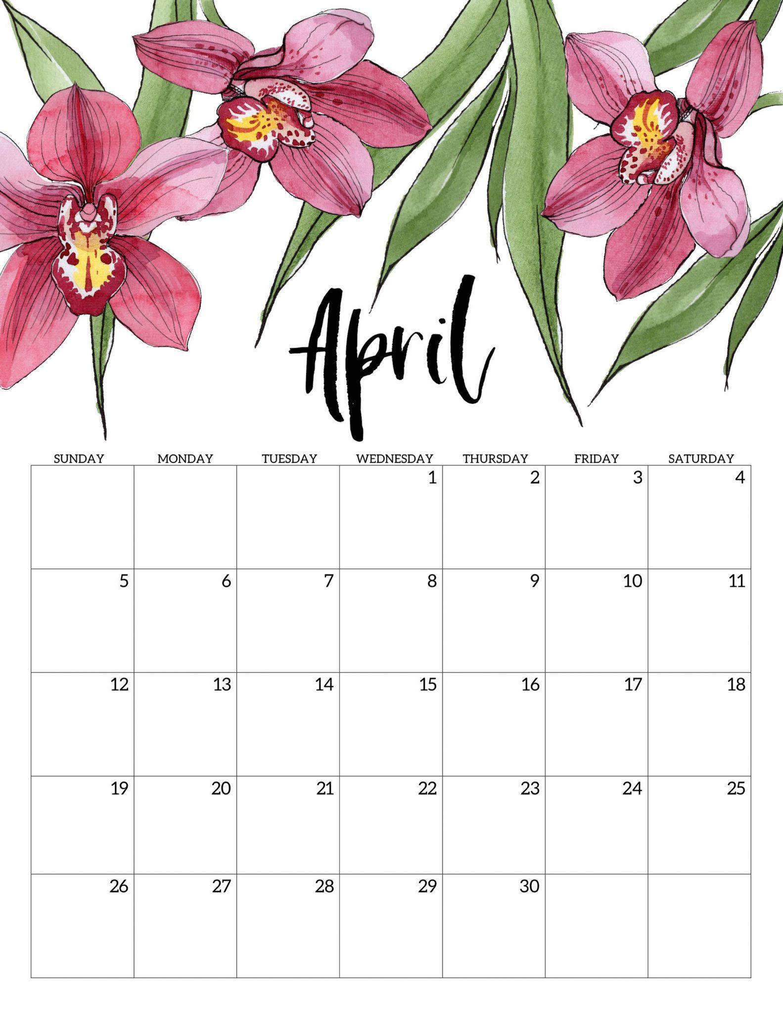 Cute April 2020 Floral Calendar