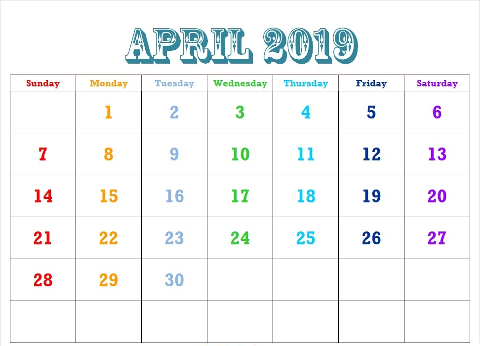 Cute April 2019 Calendar Editable