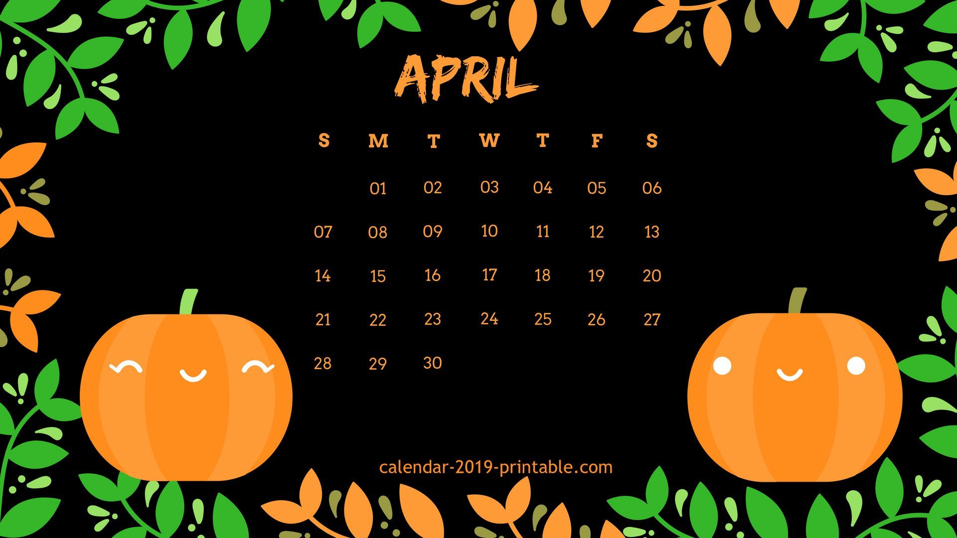Desktop Calendar Wallpaper April 2019