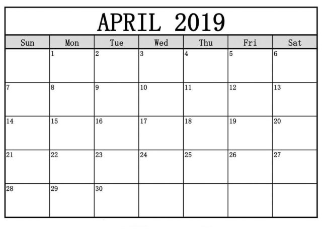 Editable April 2019 Calendar Printable