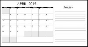Editable April 2019 Calendar With Notes
