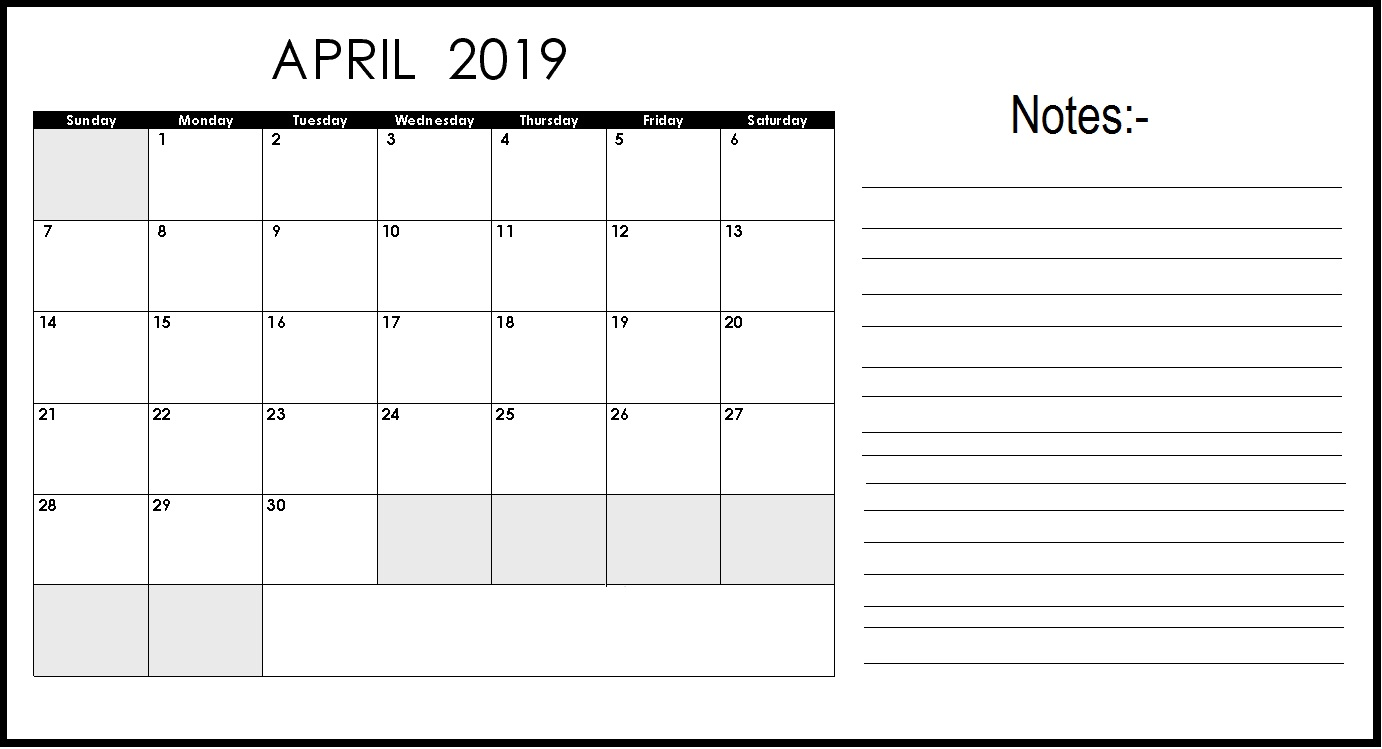 Editable April 2019 Calendar With Notes