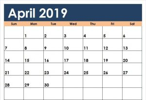 Editable April 2019 Calendar Word