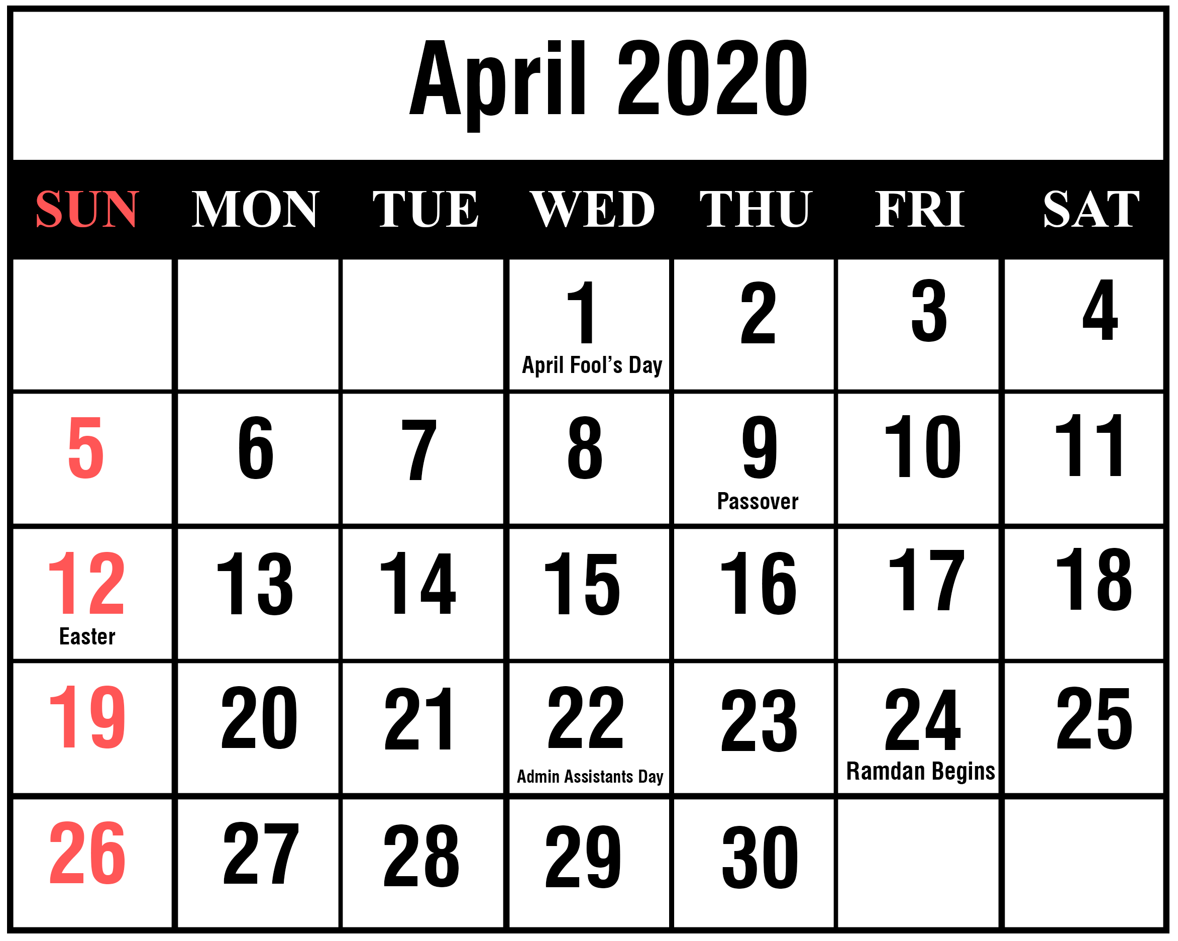 Editable April 2020 Calendar Template