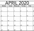 Editable April 2020 Calendar Word