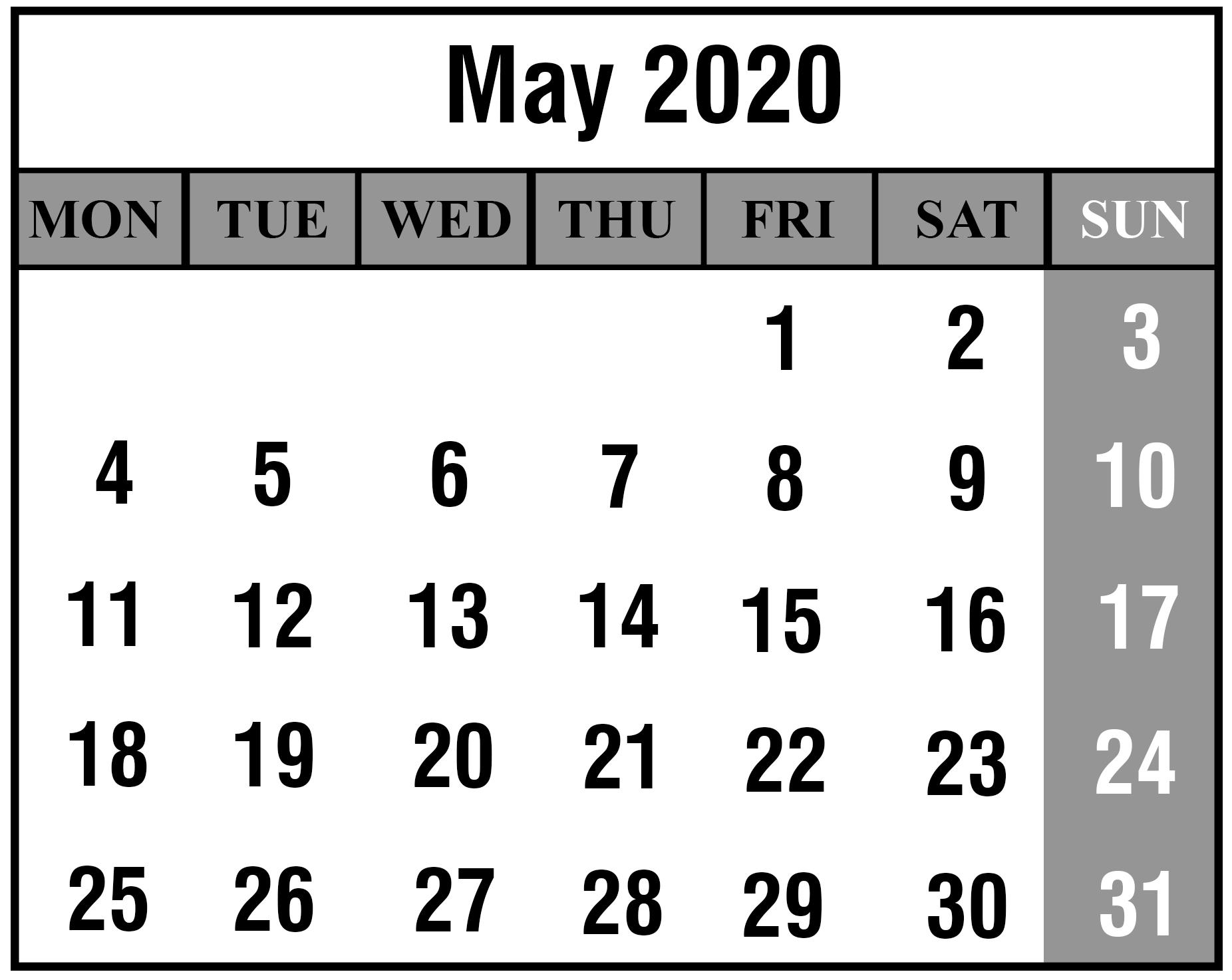 Editable Calendar Template May 2020