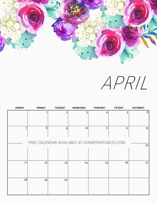 Floral April 2019 Calendar Editable