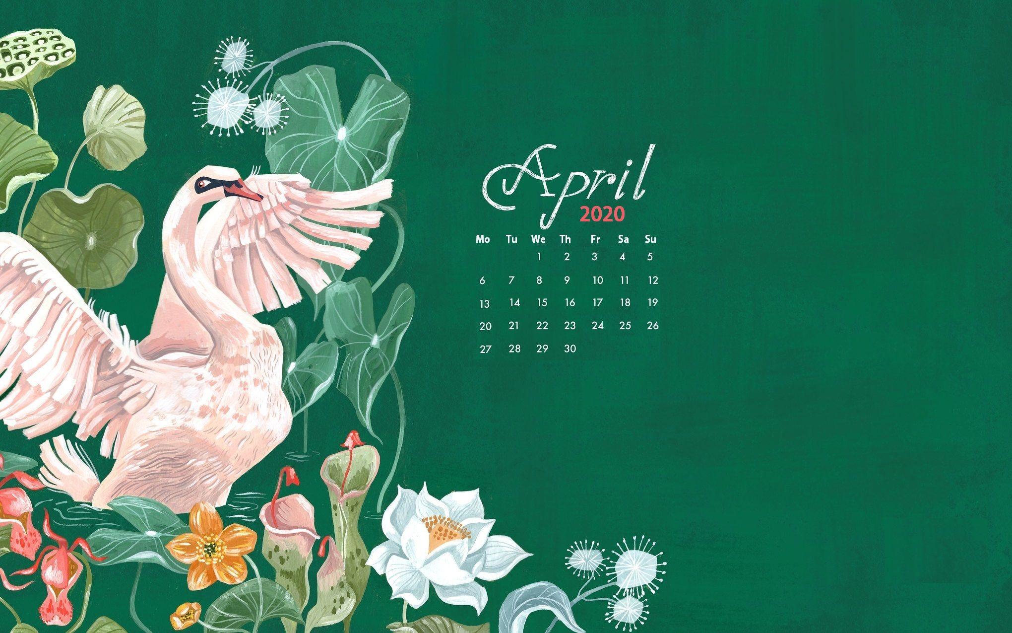 Floral April 2020 Calendar Screensaver
