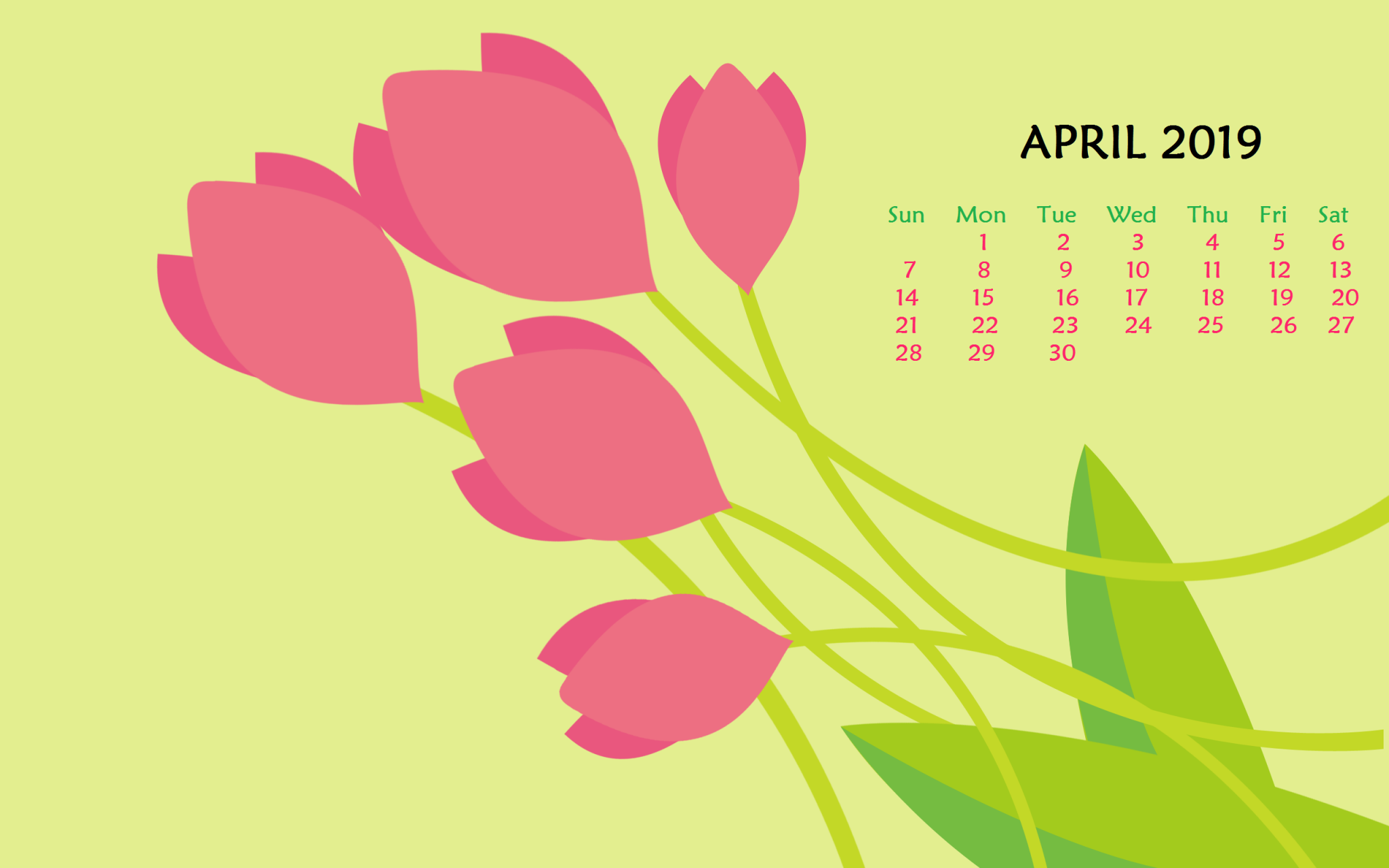 Floral Desktop April 2019 Calendar Wallpaper