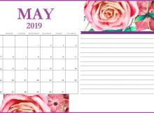 Floral May 2019 Desk Calendar Template