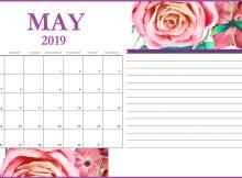 Floral May 2019 Desk Calendar Template
