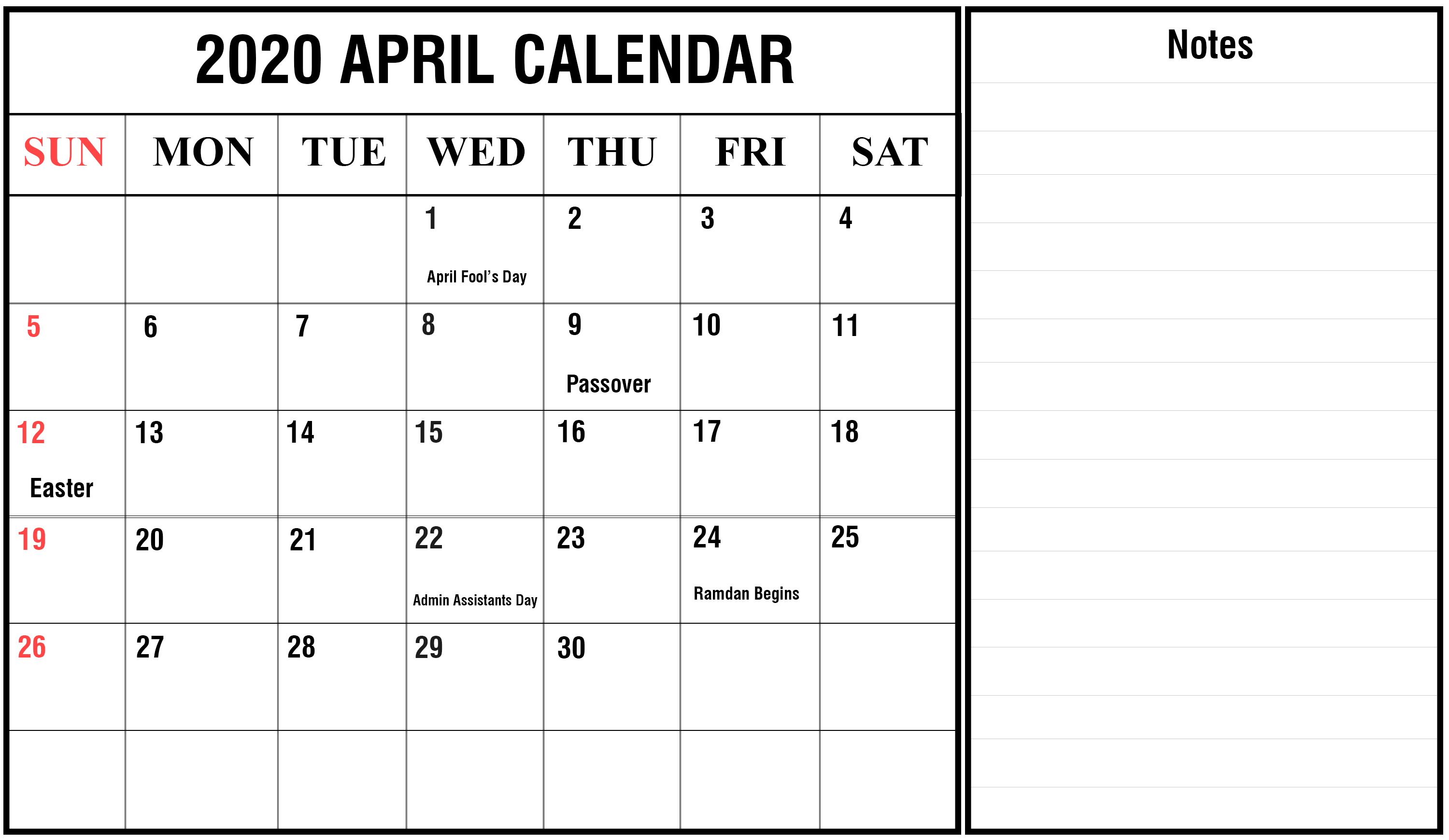 Free April Calendar 2020 Editable Template