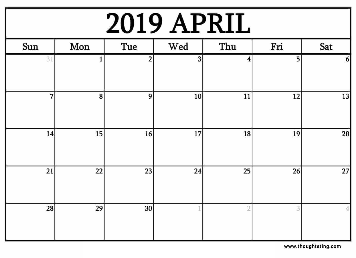 Free Blank Calendar April 2019
