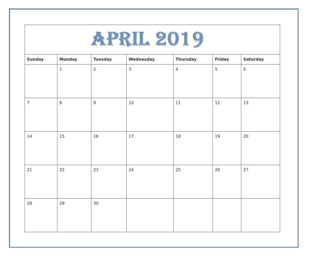 Free Editable April 2019 Calendar